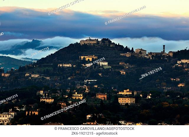 Fiesole's village photographed from Michelangelo's Square at dusk sunset in Florence, Italy
