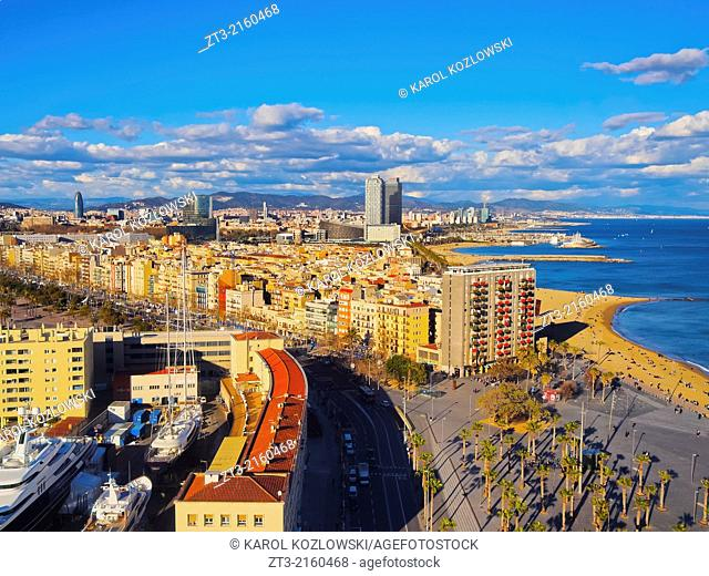 Aerial view of Barceloneta Beach and cityscape of Barcelona, Catalonia, Spain
