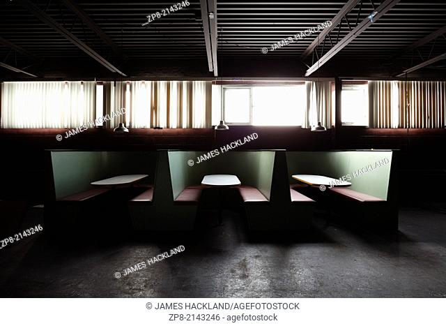 The cafeteria in an abandoned church in Oakville, Ontario, Canada. This Church has been demolished so there is no property release needed