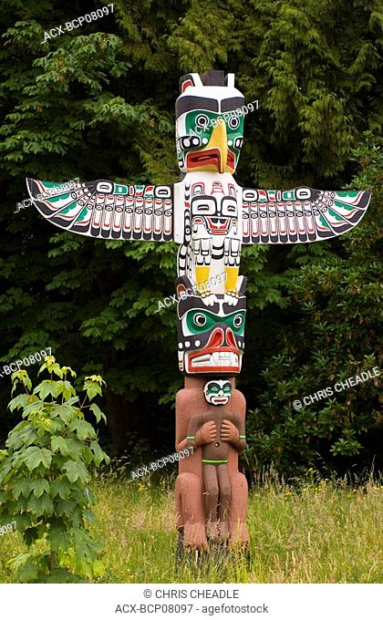 Brockton totem pole area of Stanely Park, Vancouver, British Columbia, Canada