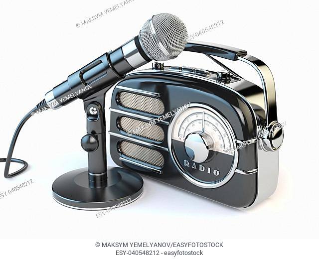 Vintage retro radio receiver and microphone isolated on white. 3d illustration