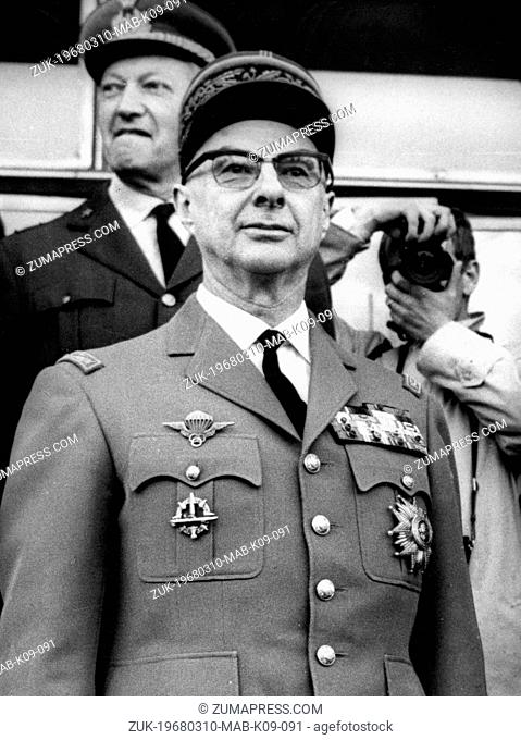 March 10, 1968 - Paris, France - Mayor Chief of the Military French forces, GENERAL CHARLES AILLERET, 'The Atomic General' died on an air accident