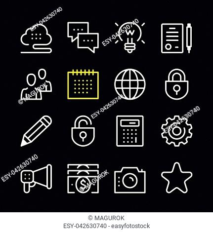 Business line icons. Modern graphic elements, simple outline thin line design symbols. Vector icons set