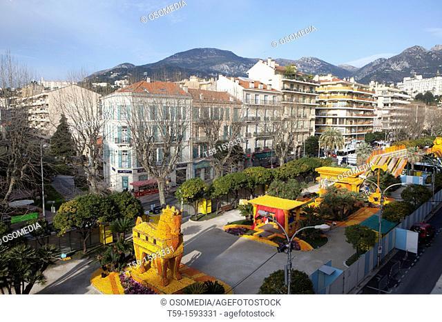 Lemons and oranges Carnival at Menton at french cote d Azur, France