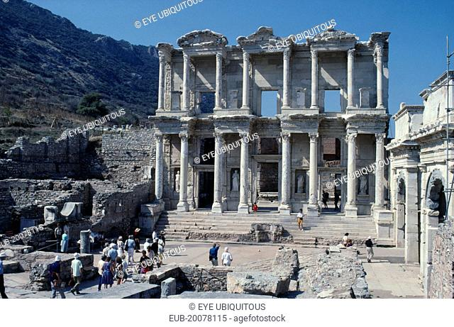 Library of Celsus with visitors