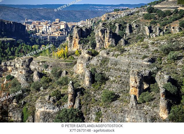 Looking towards the old town of Cuenca from the Hoz del Huecar gorge , Castilla-la mancha, Central Spain