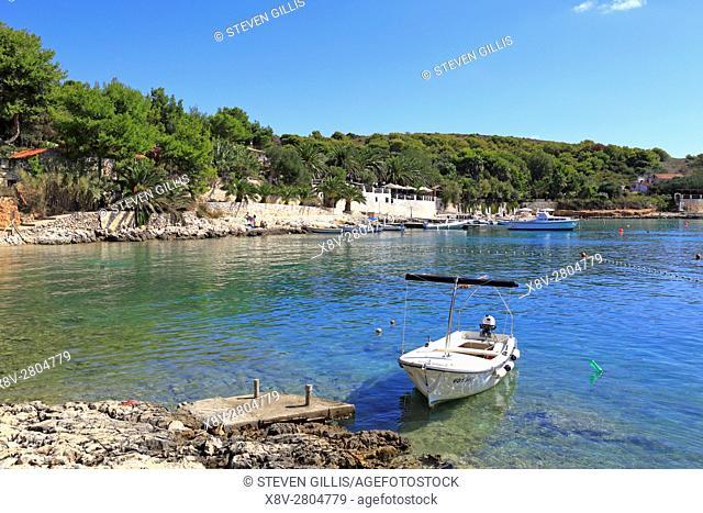 Harbour and beach, Palmizana, St Clement, Pakleni Islands near Hvar, Croatia, Dalmatia, Dalmatian, Coast, Europe