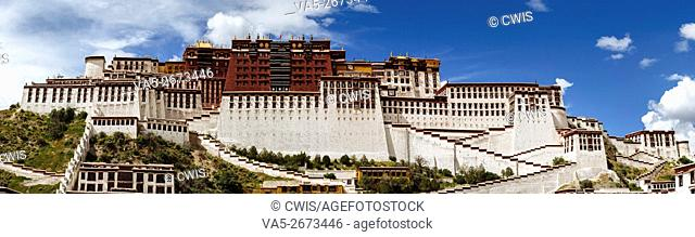 Lhasa, Tibet, China - Panorama view of Potala Palace in the daytime