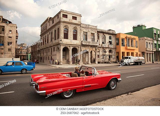 Old American cars in front of colonial buildings at Malecon, Havana, La Habana, Cuba, Central America