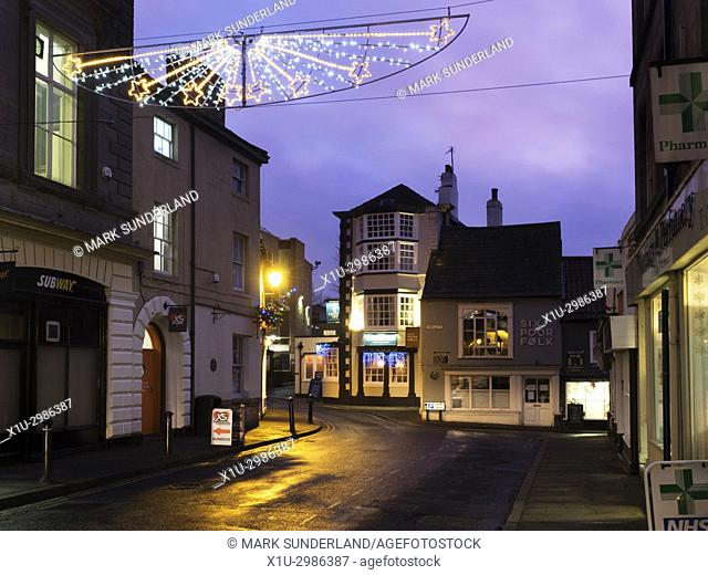 The Castle Inn at Christmas from the Market Place at Knaresborough North Yorkshire England