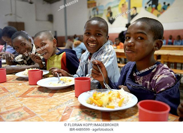 Children at lunch in school, Fianarantsoa province, Madagascar