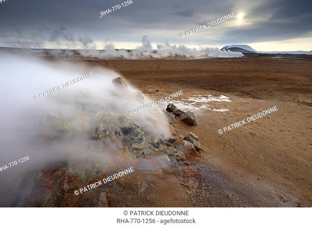 Steam vent at Namaskard geothermal area Namafjall-Hverarond, Mount Burfell, 935m, behind, near Lake Myvatn and Reykjahlid, North Iceland, Iceland, Polar Regions