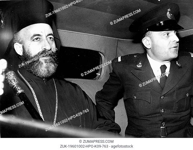 Feb. 17, 1959 - London, England, U.K. - ARCHBISHOP MAKARIOS riding in the car with his bodyguard Police Officer First Lieutenant ATHANASIOS POULITSAS during...