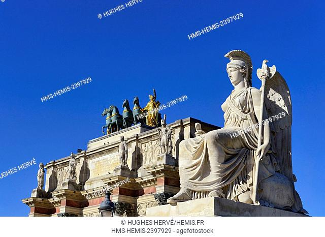 France, Paris, area listed as World Heritage by UNESCO, Arc de Triomphe of the Carrousel square at the Louvre, Antoine François Gerard statue