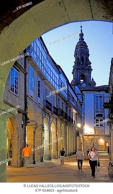 Rúa do Vilar In background tower of the cathedral Santiago de Compostela Coruña province Spain  Camino de Santiago