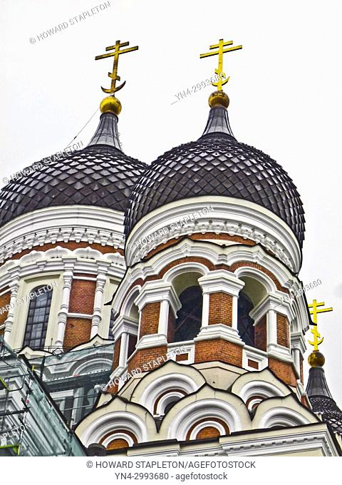 Alexander Nevsky Cathedral on Toompea Hill in Tallinn, Estonia. It is a Russian Orthodox church. Photographed in June 2017 while undergoing some restoration