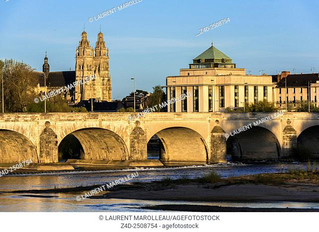 Cathedral of Saint Gatien, Public Library and Wilson Bridge over Loire River. Tours, Indre et Loire, Loire Valley, France, Europe