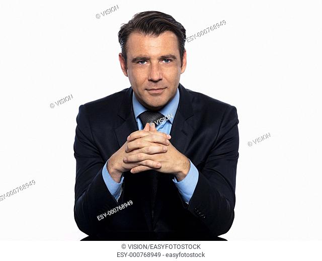 Handsome caucasian man businessman sitting pensive portrait on white isolated background