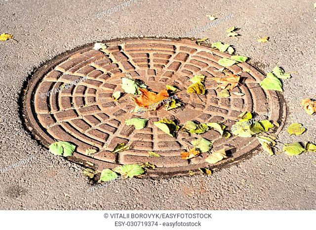 Closeup of a manhole under a colorful dry autumn leaves