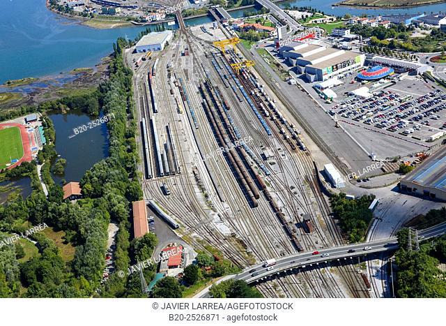 Aerial view, railroad platform, Bidasoa river mouth, Irun, Gipuzkoa, Spain