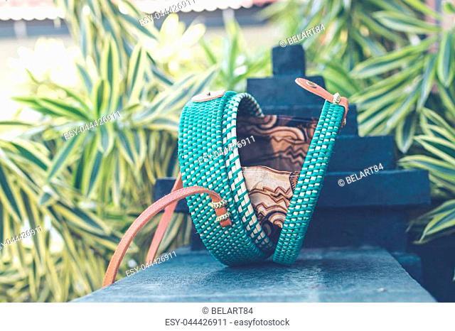 Natural organic handmade rattan handbag closeup. Bali island