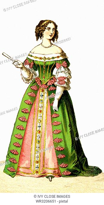 The Figure represented here Maria Theresa, Queen of France, in 1666. The illustration dates to 1882