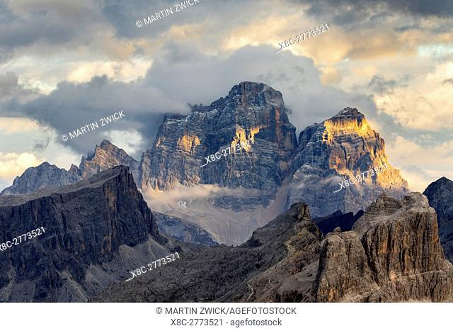 The dolomites in the Veneto. Monte Pelmo, Averau, Nuvolau and Ra Gusela in the background. The Dolomites are listed as UNESCO World heritage