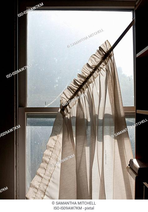 Net curtains falling from dirty sash window