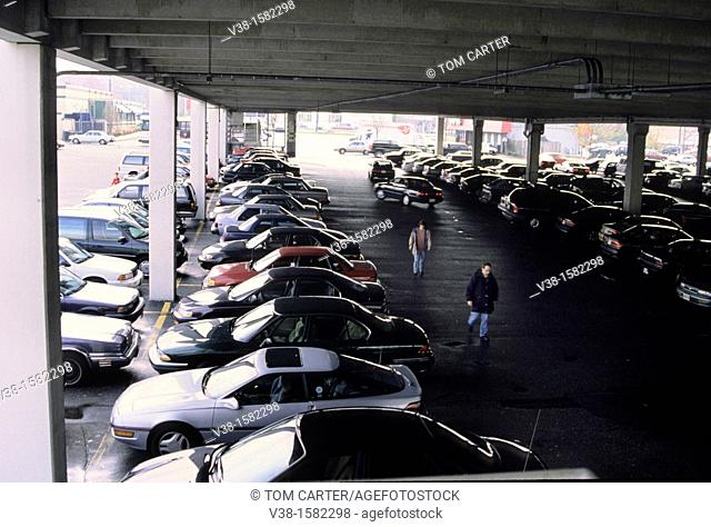 Crowded covered parking lot