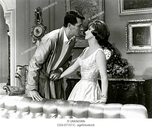 The actors Rock Hudson and Gina Lollobrigida in a scene from the movie Come September, USA