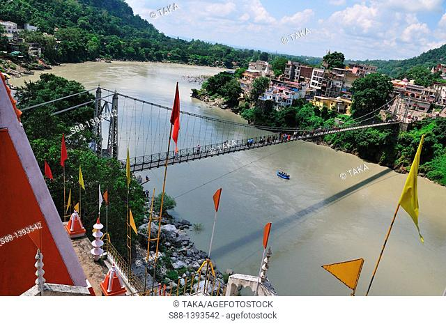 View from on top of the Trayambakeshwar Temple at Lakshman Jhula in Rishikesh