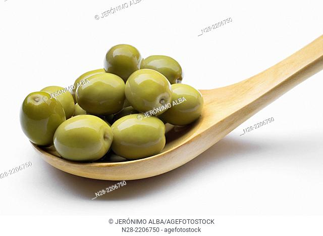Whole pickled green olives