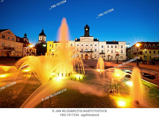 Plock - Fountain and Town Hall at the Market Square, Poland, Europe