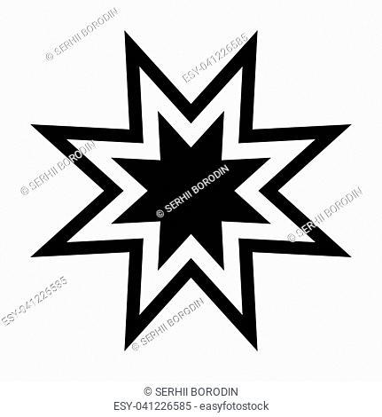 Trendy retro star it is the black color icon