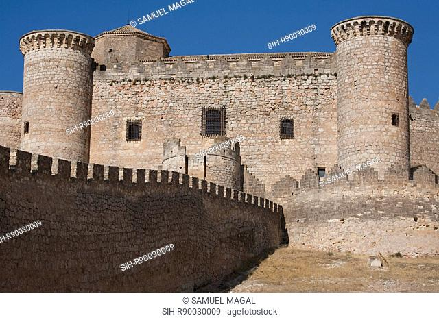 Construction of the castle was ordered by Don Juan Pacheco, Marquis of Villena, for use as his private residence. It is a Gothic-Mudejar style castle