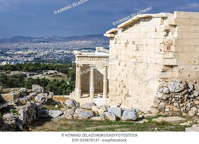 Temple of Athena Nike in Acropolis of Athens city, Greece