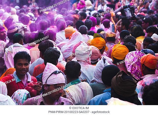 People celebrating Holi festival, Barsana, Uttar Pradesh, India
