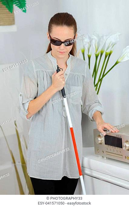 blind woman at home
