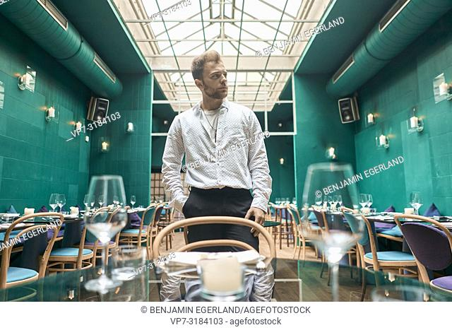 man in restaurant, Fashion Blogger Adem in Kismet, Munich, Germany