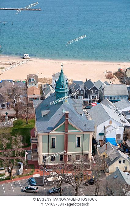 Provincetown town hall from the height of Pilgrim Monument, Cape Cod
