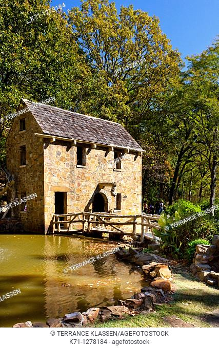 A restored grist mill in Old Mill Park in Little Rock, Arkansas, USA
