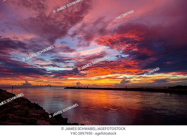 Sunset over Gulf of Mexico from South Jetty in Venice Florida