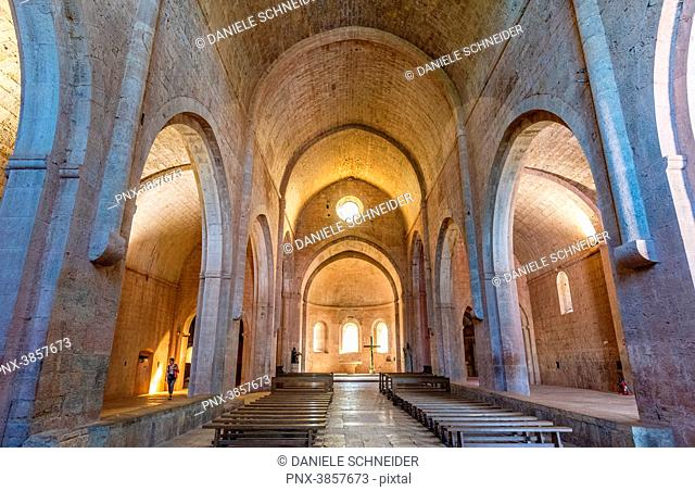 France, Provence-Alpes-Cote-d'Azur, Var, nave of the church of the cistercian abbey of the Thoronet