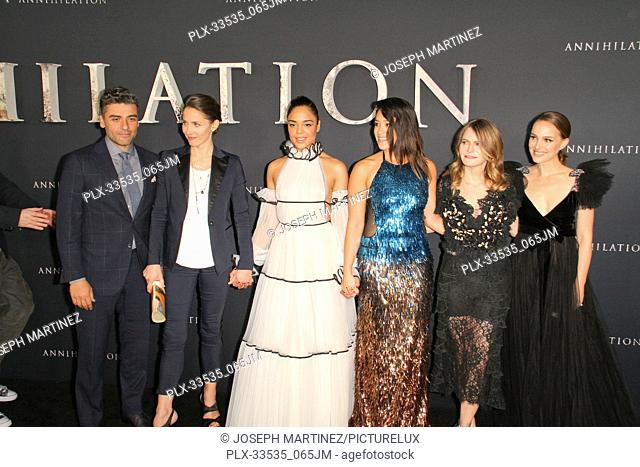 "Oscar Isaac, Tuva Novotny, Tessa Thompson, Gina Rodriguez, Jennifer Jason Leigh, Natalie Portman at the Premiere of Paramount Pictures' """"Annihilation"""" held at..."
