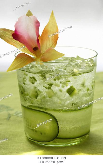 Refreshing cucumber drink with flower