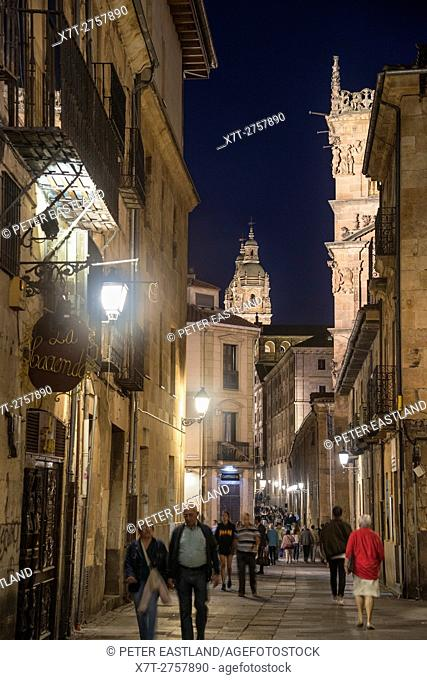 Evening paseo on the Compania, looking toward the Palacio de Monterrey and the Cathedral, Salamanca, Spain