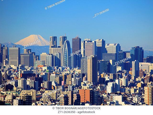 Japan, Tokyo, Shinjuku, skyline, Mount Fuji, panorama,