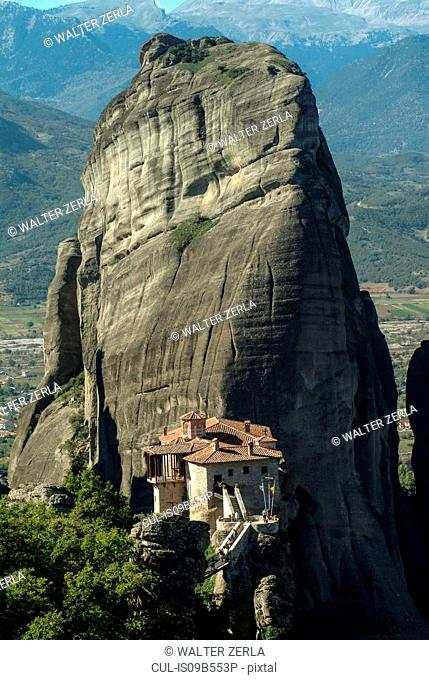 View of Roussanou Monastery perched on rock formation, Meteora, Thassaly, Greece