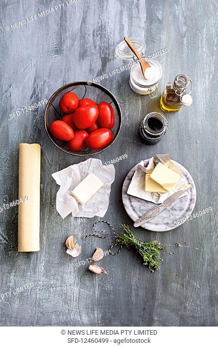 Ingredients for tomato tarte tatin