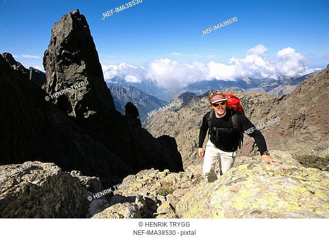 A mountain climber on Corsica
